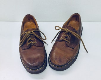 Dr Martens Lace Up Leather Shoes Round Toe Chunky Loafer Womens 6.5 Mens 4 36 37