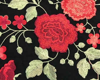 Red Flower Embroidery with Boarders on black mesh fabric by the yard