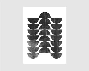 Mid Century Modern Art - Geometric Art - Black & White Art - Abstract Print - Scandinavian Art - Framed or Unframed Wall Art Print