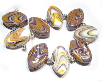 Handmade Glass Lampwork Beads, Large Tiger Zulus