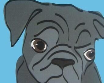 Peculiar II - a Black Pug in the Dog Series Art Print