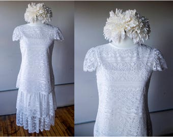 Vintage 1970s White Lace Drop Waist Two Piece Dress - Size M