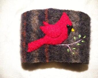 Felted Wool Cardinal Coffee Cozy