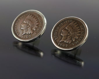 Vintage Indian Head Penny Earrings USA Coin earrings sterling silver post earrings antique coin stud earrings