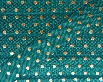 5/8 JUNGLE GREEN with Gold Foil Polka Dot Fold Over Elastic