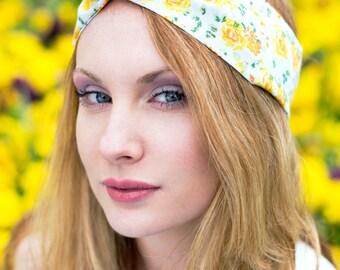 Yellow Rose Wire Headband, Dolly Bow, Pin Up Rockabilly Hair Wrap, Bandana, Hair Scarf, Pretty Rose Headband