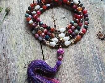 Gemstone necklace with tassel, agate gemstone mala, boho jewelry, prayer necklace, buddhist necklace, ethnic necklace, 108mala beads, yoga