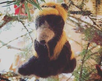 Needle Felted Hunter Bear Ornament