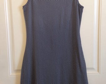 Women's vintage 90's navy and white checkered sleevless body-con dress size medium