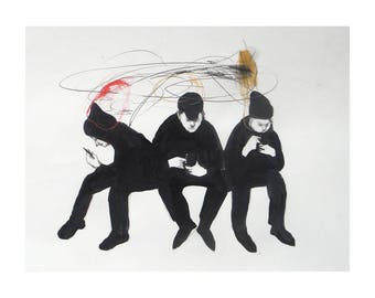 three men cell phone illustration print of original drawing painting people figurative