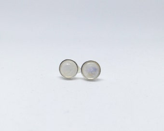 Rainbow moonstone earrings, 925 sterling silver rainbow moonstone studs, rainbow moonstone studs, rainbow moonstone jewellery