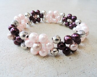 Stretchy Plum Purple Pink Pearl Daisy Chain Flower Bracelet By Distinctly Daisy
