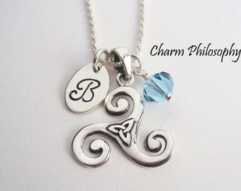 Celtic Triskelion Necklace - Personalized Birthstone and Initial - Triquetra Celtic Knot Pendant - 925 Sterling Silver Jewelry
