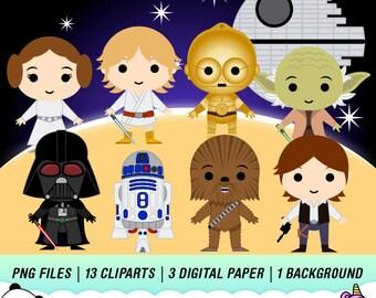 Star Wars Clipart, Star Wars Digital, Super Hero Clipart, Star Wars Party, Disney Star Wars, Instant Download, PC03