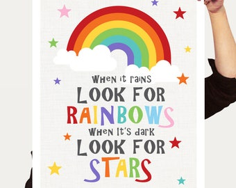 inspirational art for kids - look for rainbows and stars - postive thinking, colourful nursery decor, printed childrens wall art, girl boy