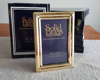 """3-1/2"""" x 5"""" solid brass picture frames unused new in box // gold metal photo frames, wedding signs, centerpieces, bulk frames event supplies"""