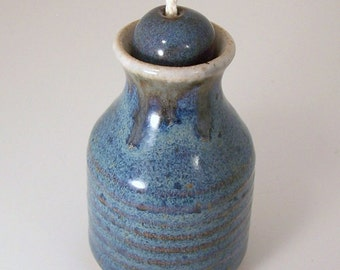 SALE - Moody Blue Stoneware Oil Candle Lamp