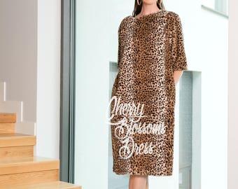 Midi Dress / Leopard dress/ Extravagant dress/ Womens Maxi Dress with Pockets / Winter dress / Warm dress/ Below the Knee Dress / Fur dress