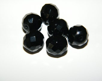 Jet, Czech Glass Beads 12mm Faceted Round - 6