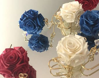 Rozafi [earrings] - Paper Made Rose/Wearable Art from Japan