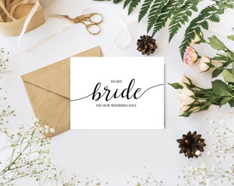 To My Bride on Our Wedding Day Cards To my Bride Card Wedding Gift for Bride From Groom Handlettered Cards Printable Wedding Card Printable