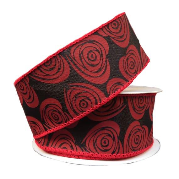 1.5 schwarze Blumen Herzen Q811409-21 rot schwarz