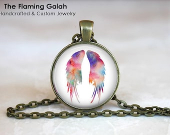 ANGEL WINGS Pendant •  Watercolour Angel WIngs •  Water Colour Wings • Boho Angel Wings • Gift Under 20 • Made in Australia (P1433)