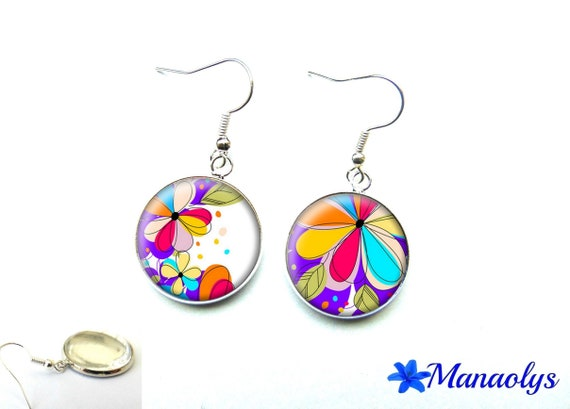 Earrings multicolored flowers, cabochons glass 2027