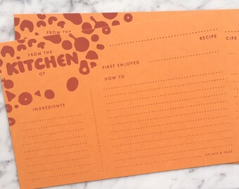 "Recipe Cards // Hand Silkscreened, Screenprinted, Warm Orange 4 x 6"" (Set of 12) // Foodie Gift, Wedding Shower, Housewarming, Cooking"