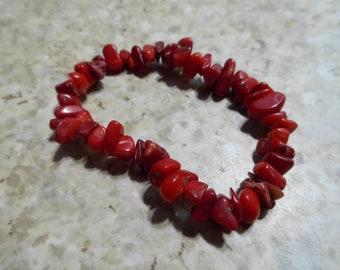 Natural Red stone stretch bracelet
