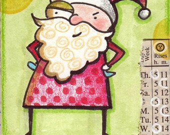 Santa Claus Mixed Media ACEO Miniature Original Art