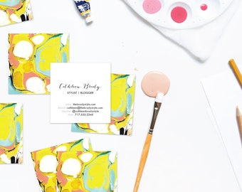 PSYCHEDELIC Aqua + Chartreuse Marble Calling Cards | Business Cards | Blogger Cards | Set (50)