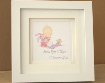 White Framed Personalised New Baby Girl Picture