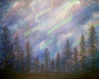 Aurora Borealis painting 16x20