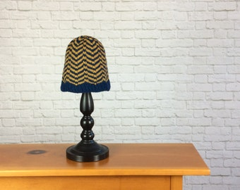 Hat, Chevron Hat, Hand Knit Hat, Striped Hat, Blue, Gold