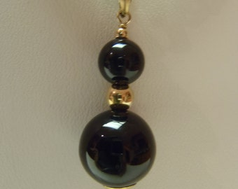 Mint Black Onyx Bead and 14K Gold Pendant