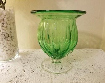 Hand blown green glass pedestal vase