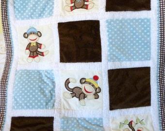 "Personalized Baby Blanket Appliqued Minky ""Sooo Lovable Sock Monkey"""