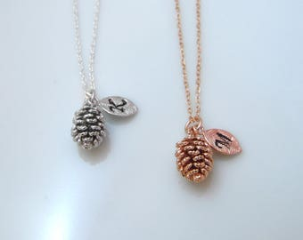 Pinecone necklace with initial, personalized initial necklace, personalized gift, rose gold pine cone necklace