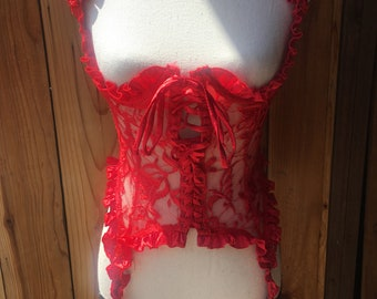 Trashy Lingerie Red Rose Lace Corset Halter Top With Garters VTG Lace Up Negligeé
