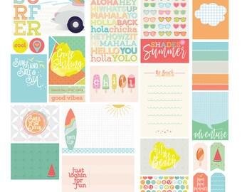 Summer Theme Digital Scrapbooking Printable / Scrapbook Journal Cards / Beach Theme Project Life Cards