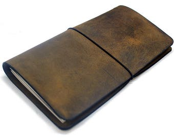 Leather Travelers Notebook cover, leather fauxdori, Travelers journal, midori, Distressed brown crazy horse leather journal