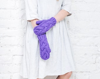 Violet knitted mittens Purple gloves Pantone color mittens Wool womens mittens Bright soft stylish gloves Violet gloves Purple knitted mitts