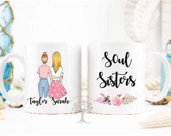 Soul Sister Mug, Personalized Best Friend Gift, Sister Mug, Sister Coffee Cup, Sister Gift, Best Friend Mugs, Coffee Mug, Best Friends.