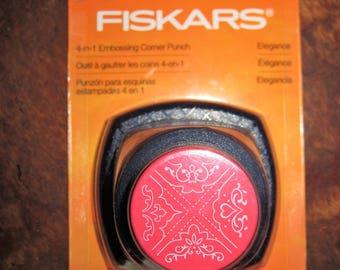 Fiskars 4 In 1 Elegance Embossing Corner Paper Punch Cuts & Emboses NEW 03-014048