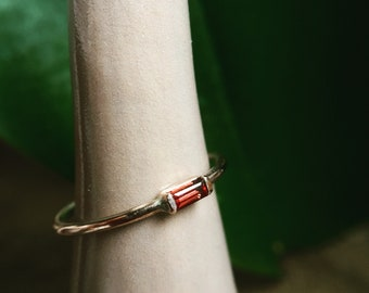 Garnet ring, baguette ring, 14k rose gold, art deco jewelry, january birthstone, rectangle stone engagement, mozambique garnet