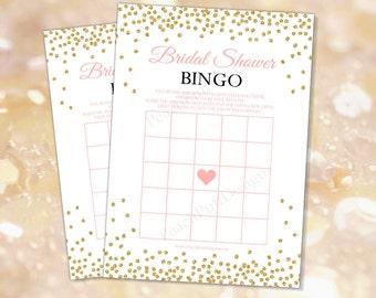 Bridal shower Bingo (INSTANT DOWNLOAD) - Bridal shower games - Bridal bingo printable - Bridal bingo cards-Pink and gold Bridal shower BR001