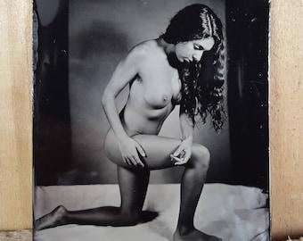 Nude model figure study tintype Monique-05
