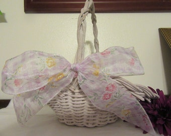 Basket Flower Girl  With Lavender Gingham Floral Bow Lavendar Vintage Wicker Basket Collector Home Decor Wedding-Centerpiece Gift Storage