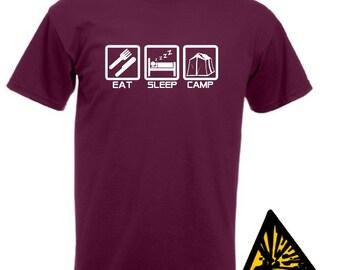 Eat Sleep Camp T-Shirt Joke Funny Tshirt Tee Shirt Gift tent camping